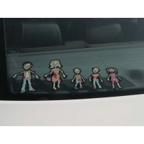 Hawaii Fashion Stick Figure Family Car Stickers Cartoon Motorcycle Vinyl  Decals Black C7-1307
