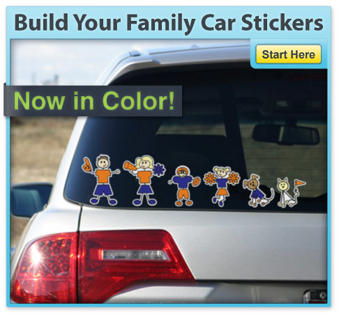 ... Build Your Family Car Stickers - Color Family Stickers ...
