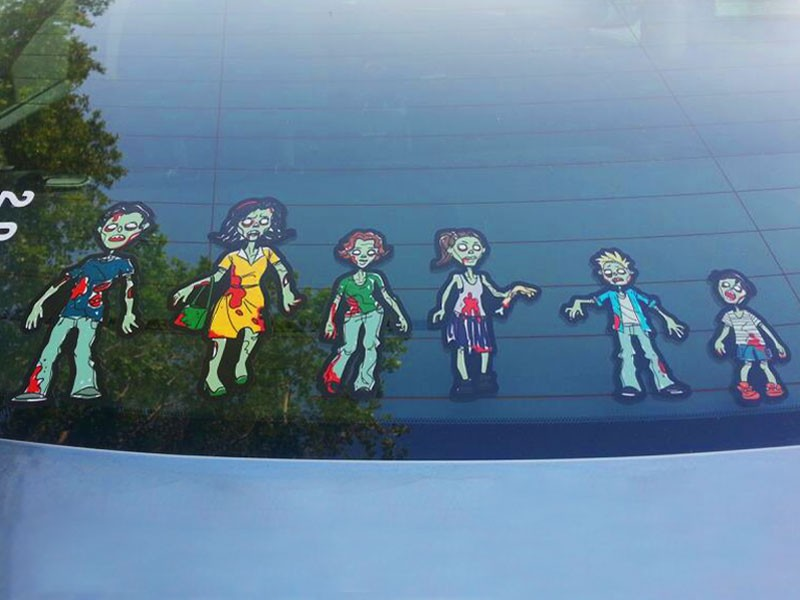 Zombie Family Car Window Stickers