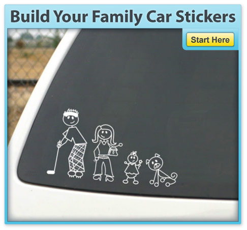 White Car Stickers Family