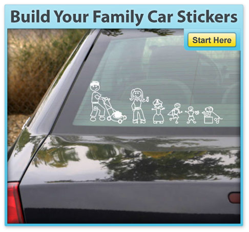 Build your family car stickers black car